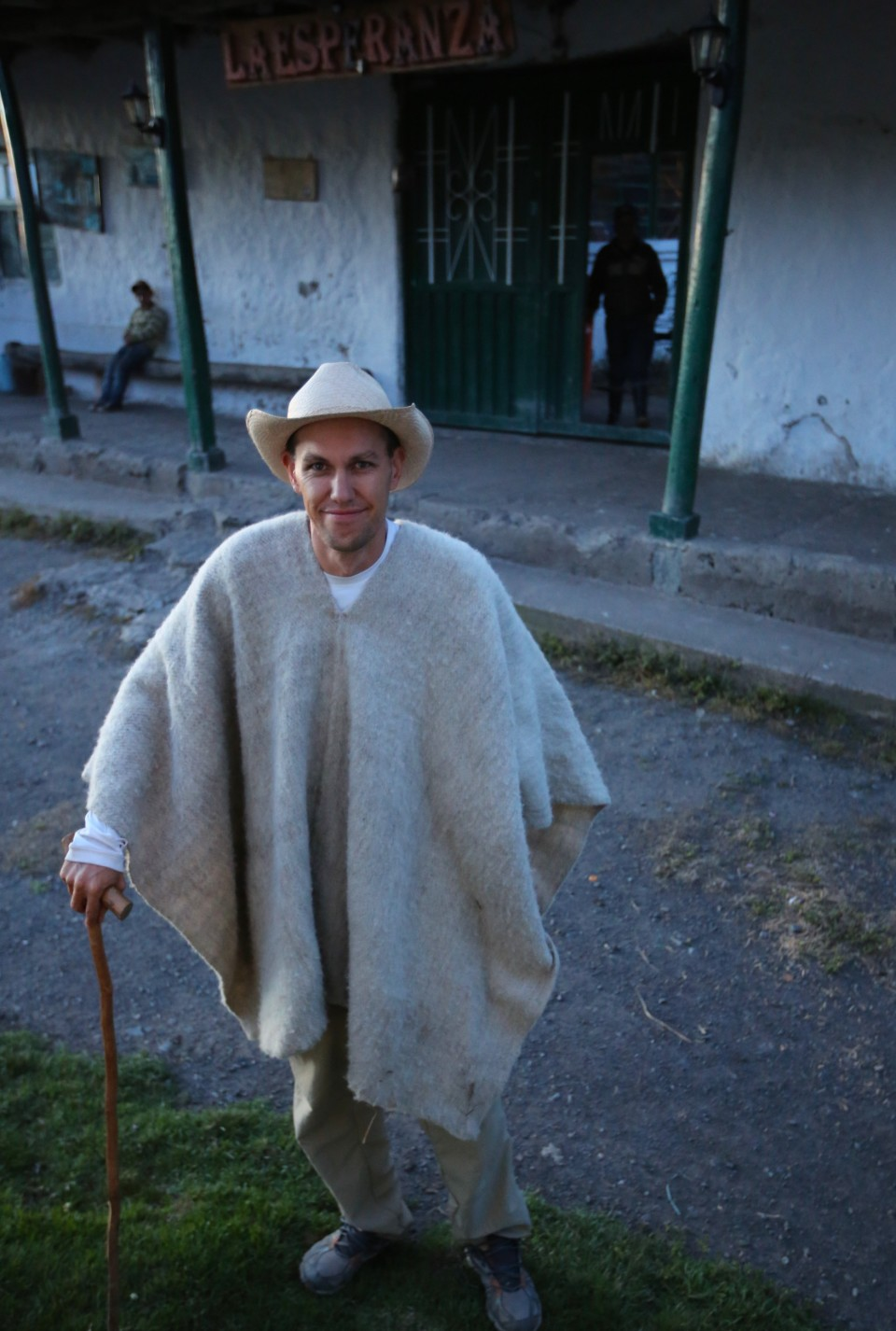 Beware, the owner likes to dress his visitors in the traditional dress of the area. Sam loved the wool ruanas (poncho). So warm!