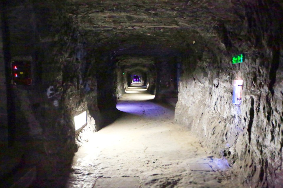 Walking down the mine shafts to the church which is 200 meters underground.