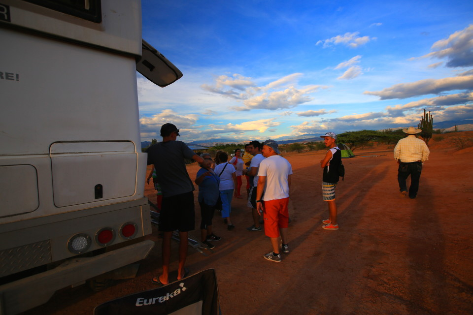 The only issue with our epic camp spot was the mob of Colombians who showed up and wanted a peak inside the XPCamper.