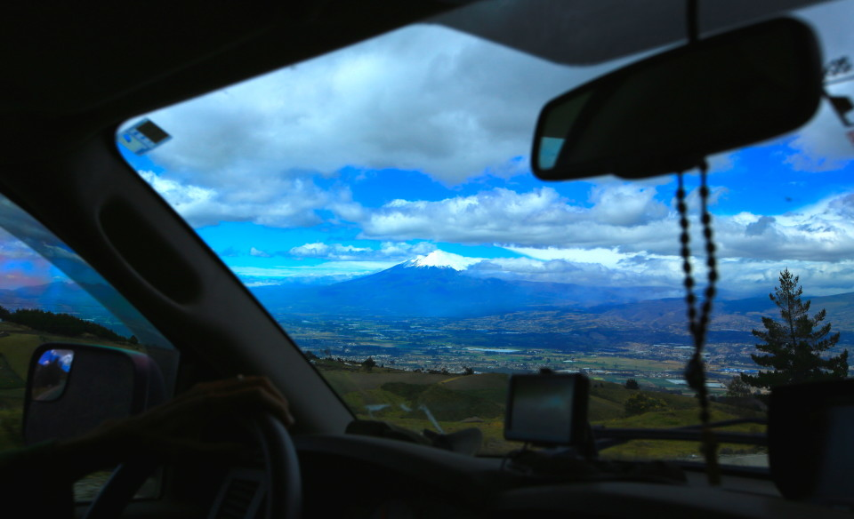 This is shot through our front window. We kept seeing massive volcanos as we drove, some I did not even know the name of.