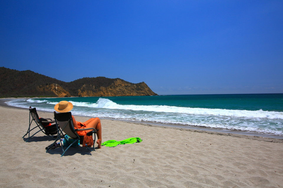 Los Frailes beach. White sand, crystal blue water that was too cold to swim in. (Central America has ruined us...)