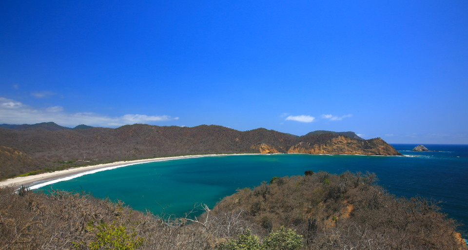 The horseshoe bay of Los Frailes from the mirador.