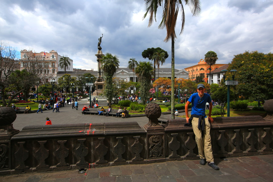 Sam in Plaza Grande.