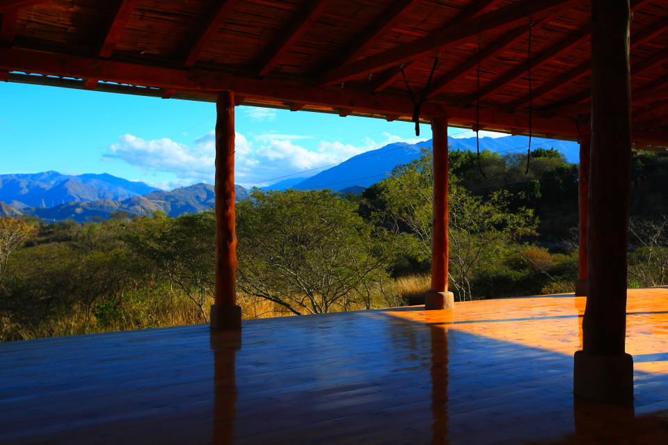 The yoga studio shares the amazing views you find all around the Hostal.