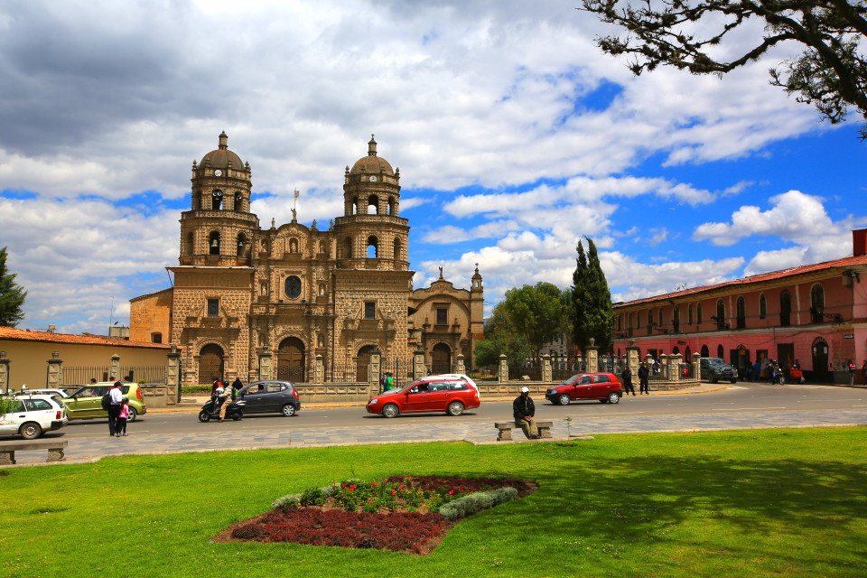 The beautiful Cathedral of Cajamarca.