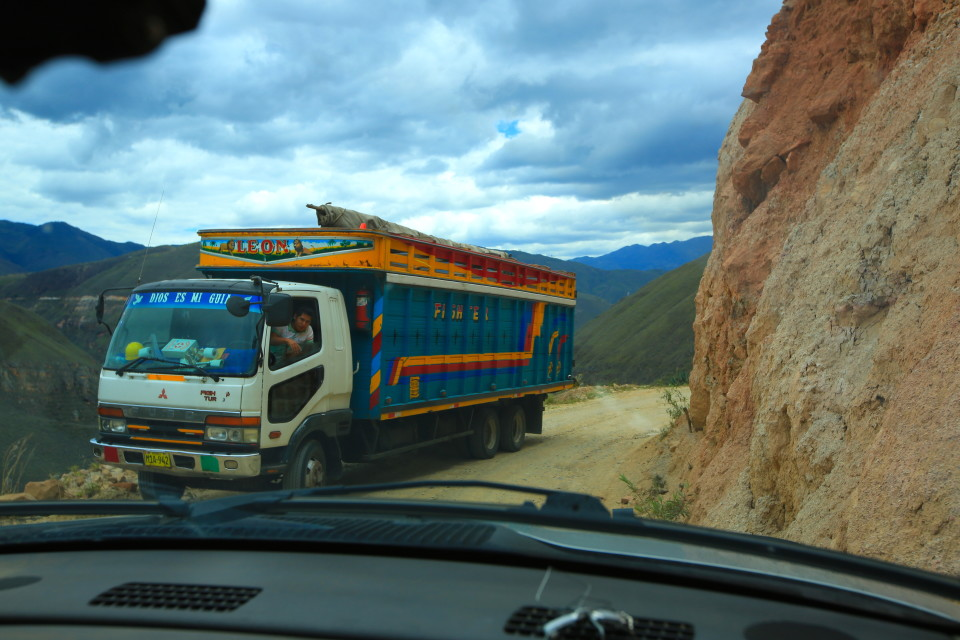 I was driving when this happened and I freaked out and made Sam back up on the single track road and let the bus pass. This was the last day I drove in Peru. The roads were a little too intense for me.