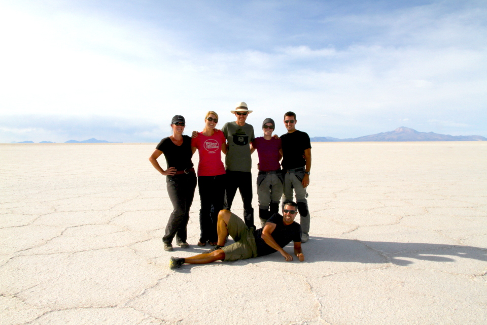 The Salar group. We started calling Marcus (far right) Maverick on the Salar, he looks so much like Tom Cruise from Top Gun in those aviators. (Picture courtesy of Michael).