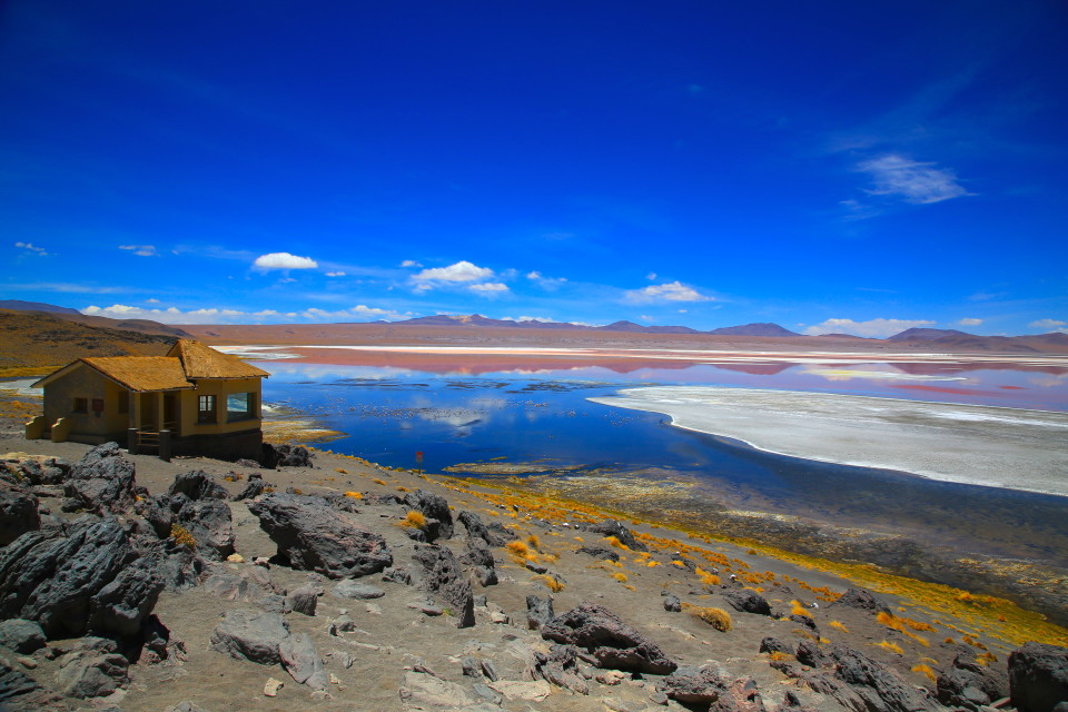 Our first view of Laguna Colorada.  Those tiny pink dots in it are flamingos.