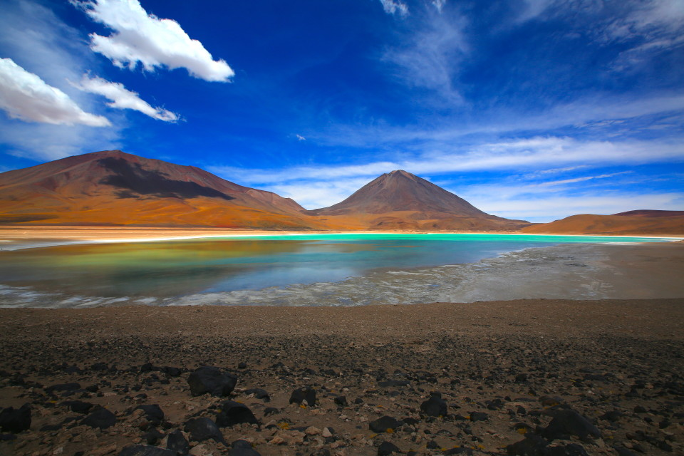 Laguna Verde was so stunning, it changed colors as the clouds rolled over it and the sun hit the water.