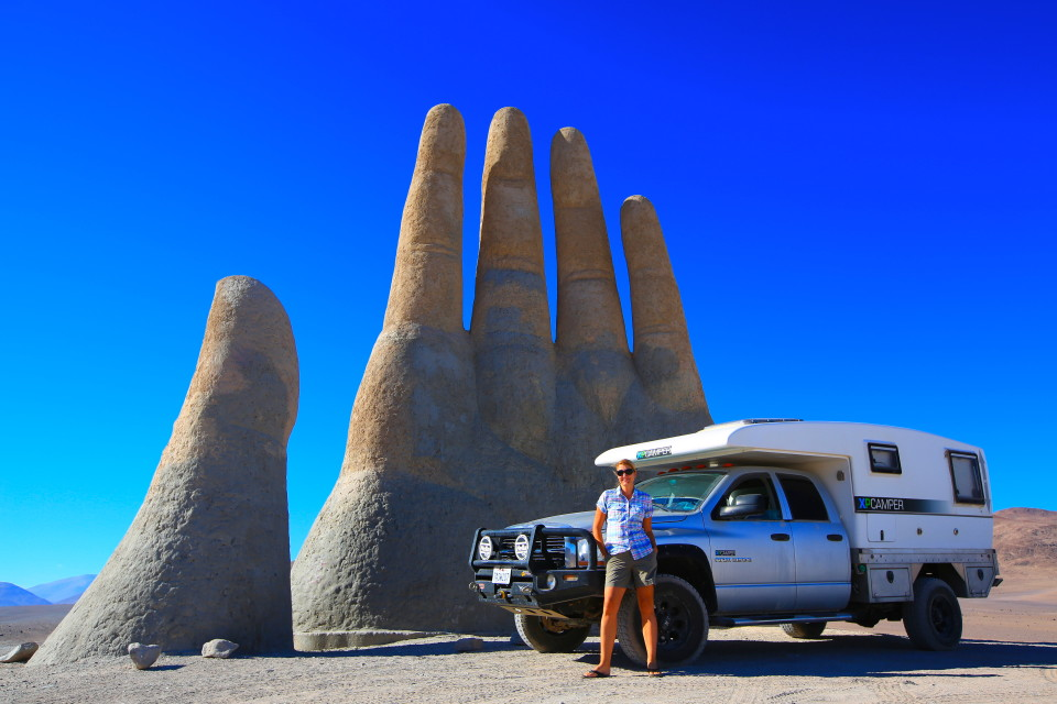 In the middle of the Atacama, an artist created this hand that looks like it is reaching out of the sand. It is called Mano del deserto. There is also another hand coming out of the sand on a beach in Uruguay.