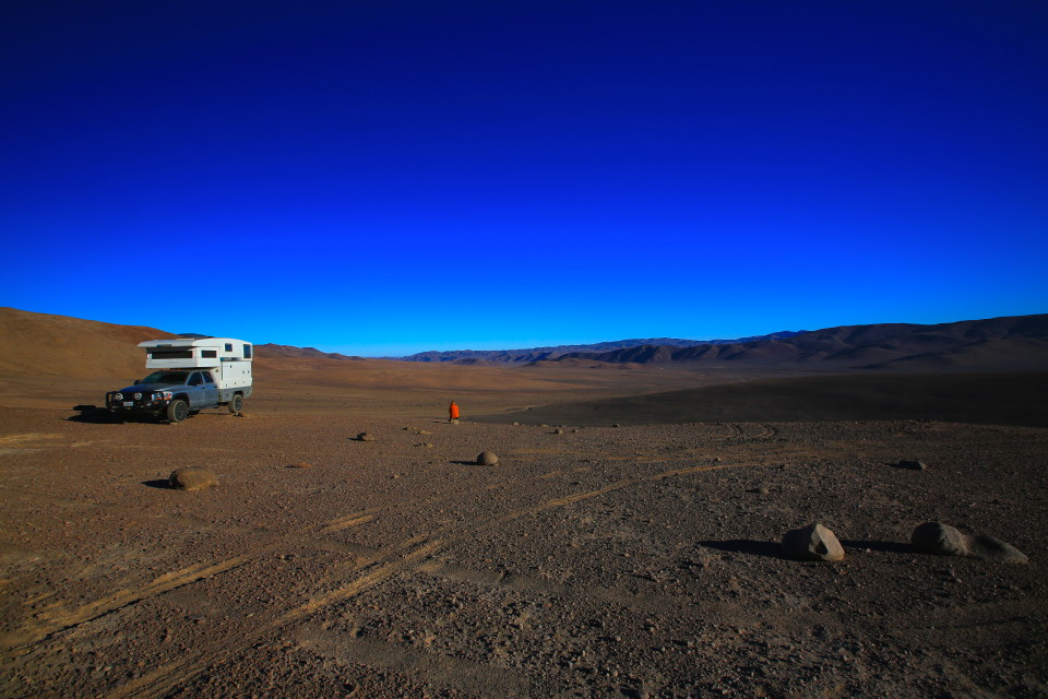 This is me at a camp spot in the Atacama. I am looking out over a huge valley up on a hill. It just went on and on......