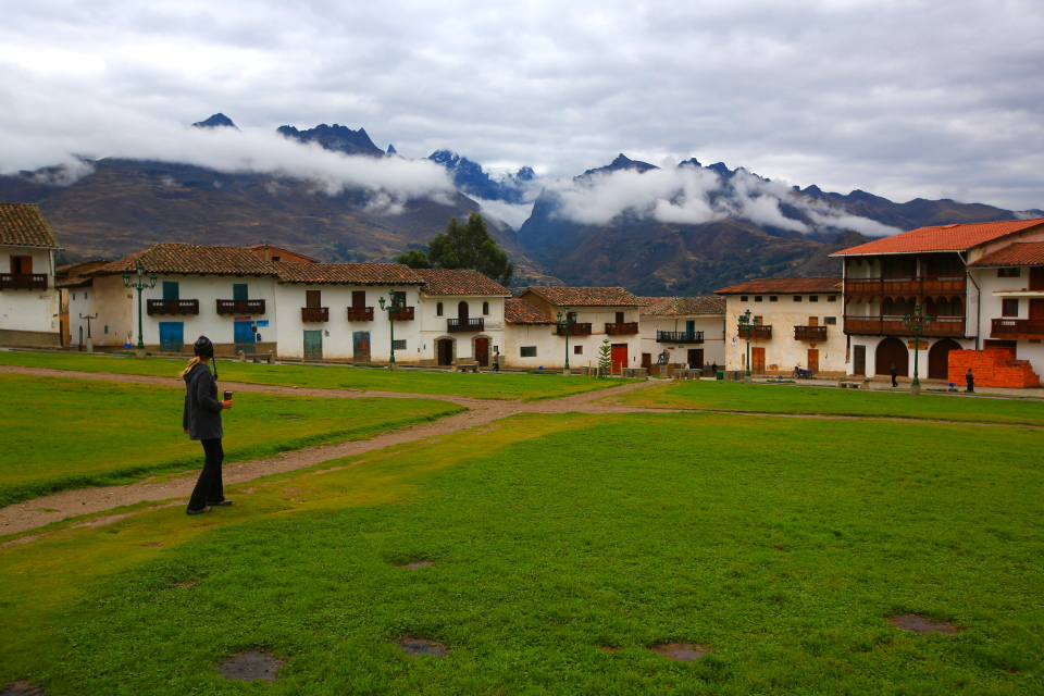 The town square had stunning views of the mountains, when they were visible.
