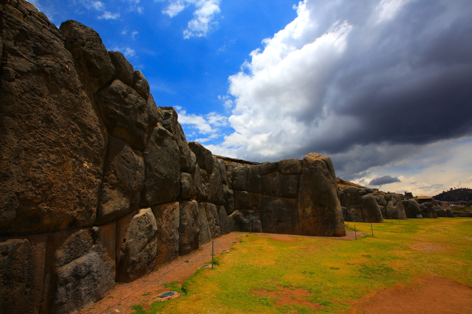 The Incas built Cusco in the shape of a Puma, with Sacsayhuaman as the head.  These ridged walls represented the teeth of the Puma.