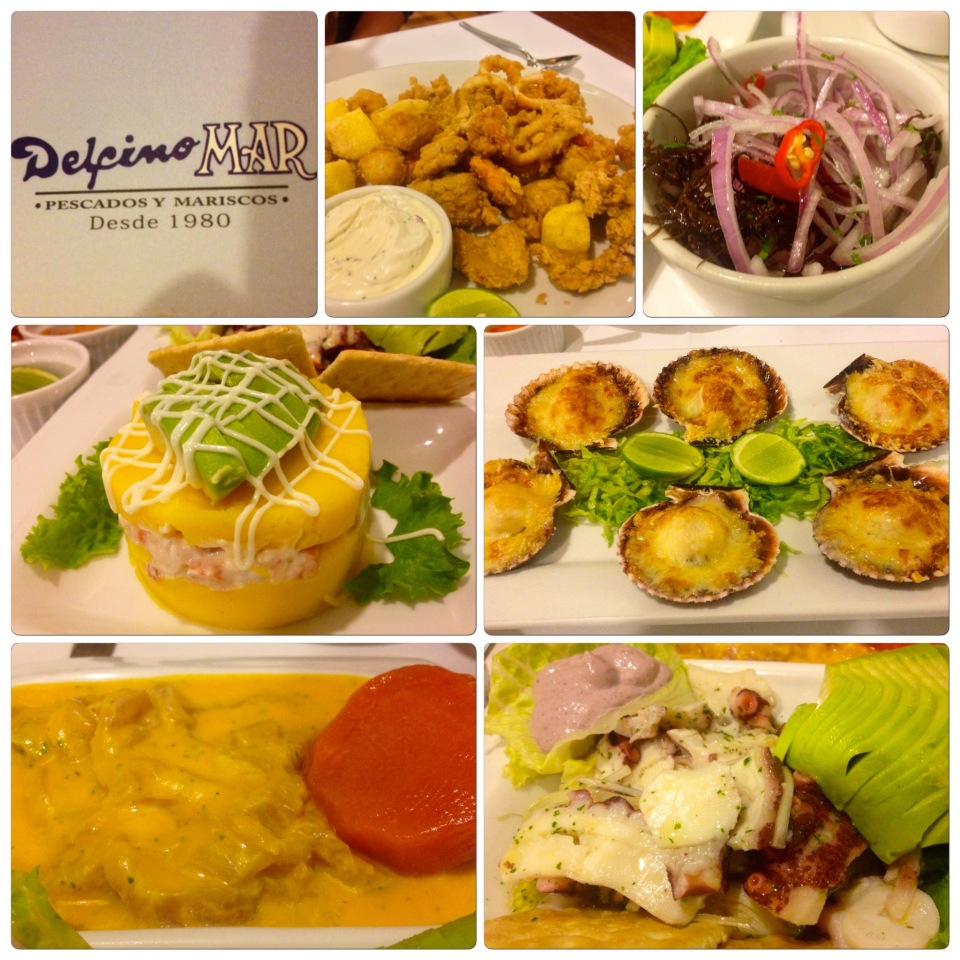 We had so much amazing seafood here. My favorite was the a version of the causa rellena, a cold mashed potatoes, layered with avocado and mayonnaise and poached, chopped shrimp. The potatoes in Peru  have such intense and wonderful flavor, they are sweet and extremely flavorful, just wonderful mashed up with the shrimp. Sam's favorite was the pulpo (octopus) cebiche that always seemed to come with a purple mayo (which was black olive mayonnaise, YUM). We also had broiled fresh scallops with cheese, a frito platter of fried fish and calamari, and a delicious spicy yellow pepper cebiche served with a yam.