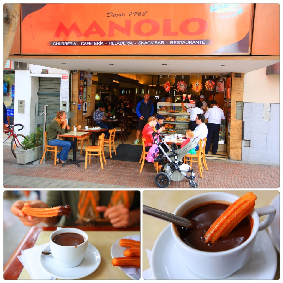 "We only ate here one day (Our friend Toby discovered this place). These fresh cooked crispy churros came with a rich glass of dark chocolate to dip them in. This makes for an amazing breakfast. These churros reminded us of Spain more than Mexico with the thick chocolate drink. It took us back to our trip to Andalusia, Spain. We only went here once because we ate so many our first time we ""grounded"" ourselves from further indulgence. My jeans were already getting snug. Good God these were good....."