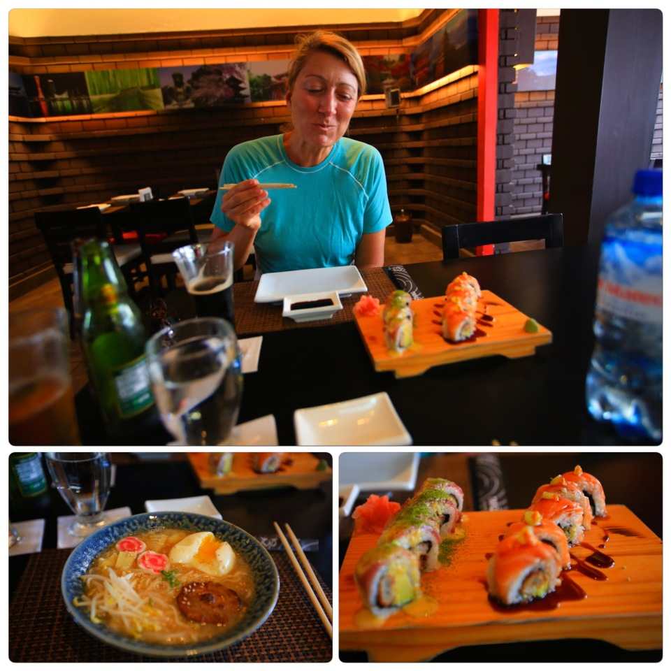 I was still recovering from my concussion when we arrived in Lima and we went straight to sushi from four days of wild camping without showering since we were low on water (thus my not too chic look). That is how bad we wanted Japanese food when we arrived in Lima. And yes it was worth it!