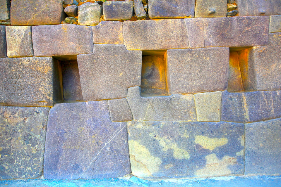 The Incas used molten bronze to fill the joints on these pink rocks which were going to be part of the Temple of the Sun which was never finished.