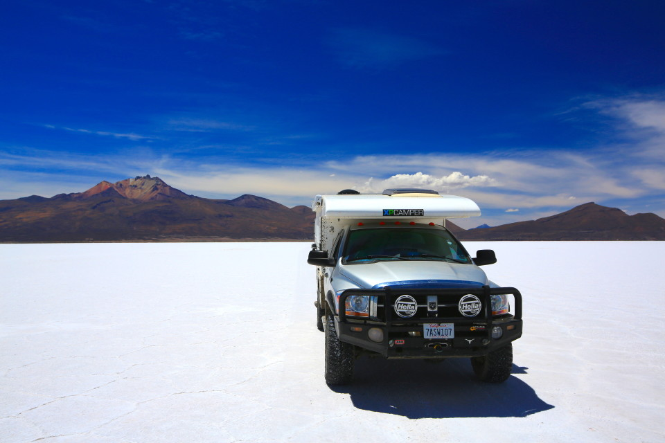 We asked some locals if we could drive across the Salar to Uyuni, the town we were meeting our friends at. They said yes. It took an hour to cross and was so smooth we could drive almost 60 MPH!