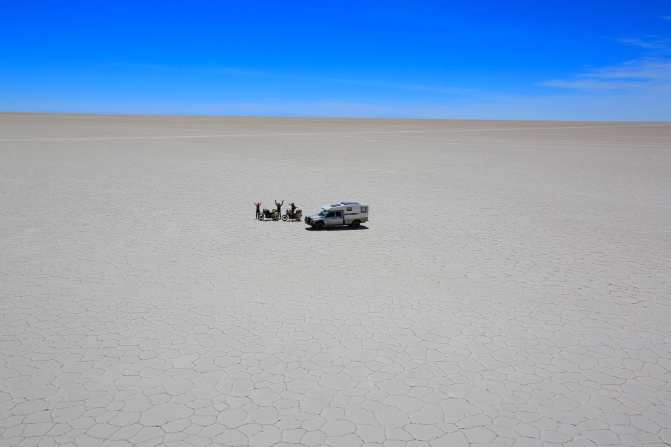 Me, Karin and Marcus in the middle of the salt flats.