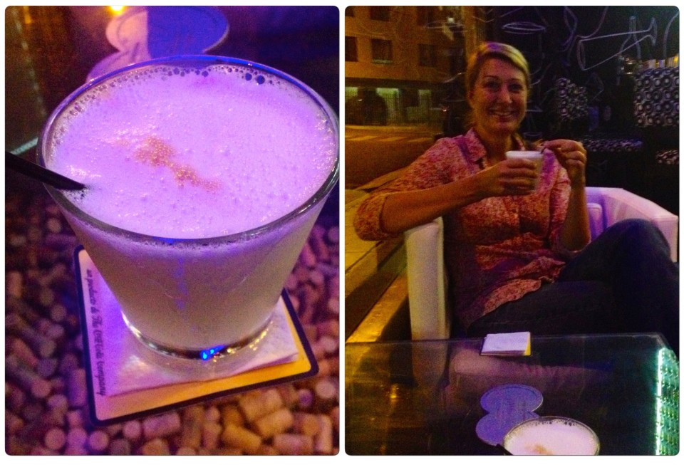 We had been in such rural areas of Peru and with the dry election rules (no places could sell booze during elections) I waited until Lima before I had my first Pisco sour. It was worth the wait to get a proper one. I watched the bartender squeeze lime juice into a shaker, add sugar, crack an egg and add a bit of egg white and ice and shake vigorously. He poured the frothy concoction into a glass and added a few drops of bitters to it. Amazing!