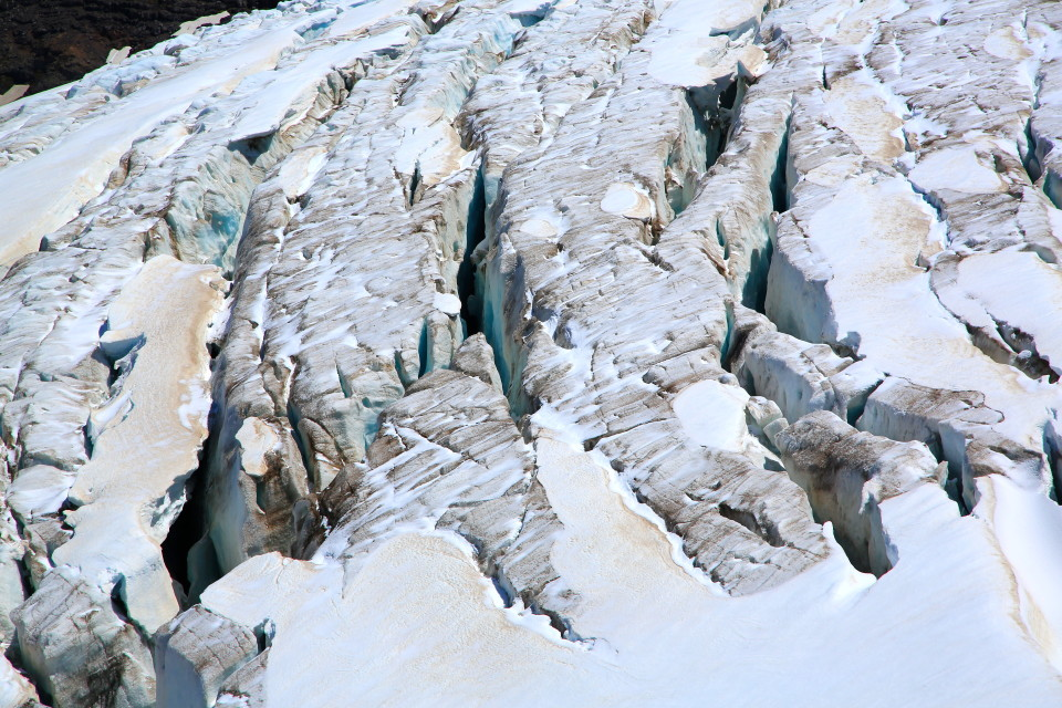 A close up of the glacier.