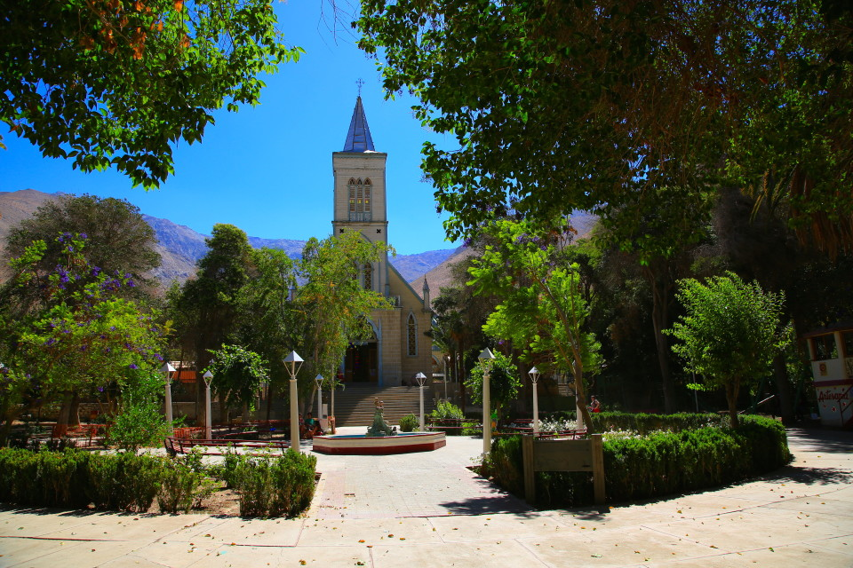The town square with one of the quaint wooden churches that are all over Chile.