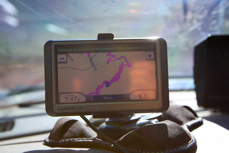 Sam took a picture of the GPS, he thought it was hilarious how tight the switch backs were.
