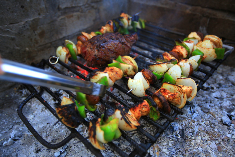 All the campgrounds in Argentina have asados (grills) at each site, so we grilled daily. I always put veggies on the grill because while I enjoy meat, I like it in small quantities. The meat portions in Argentina made me crave veggies.