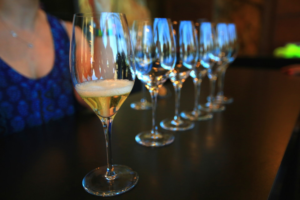 Glasses lined up ready for a tasting, its a beautiful thing!