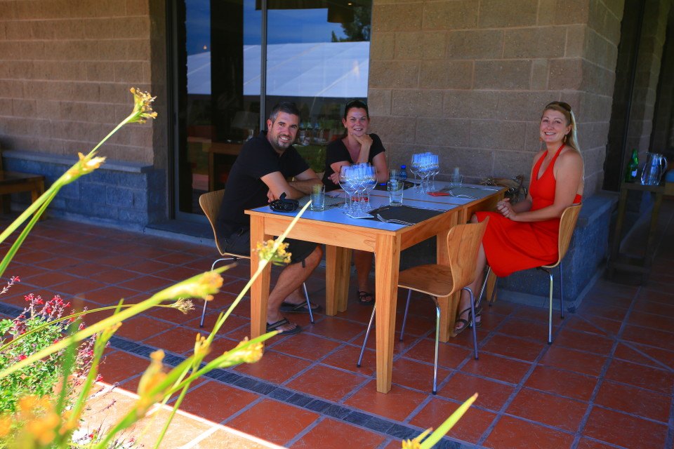 Our three course lunch at a winery was so great. Sitting outside in the balmy heat with vineyards all around us was perfect.