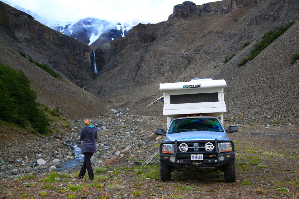 We decided to camp on a little back road next to a small glacier with a waterfall. It was a pretty sweet campsite.