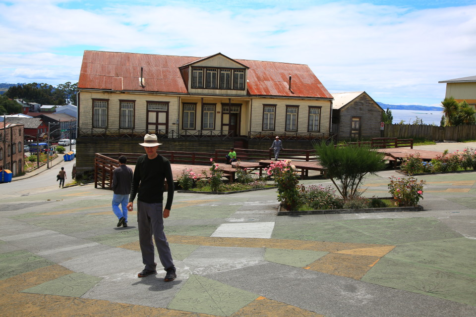 Sam in one of the small towns main plazas.
