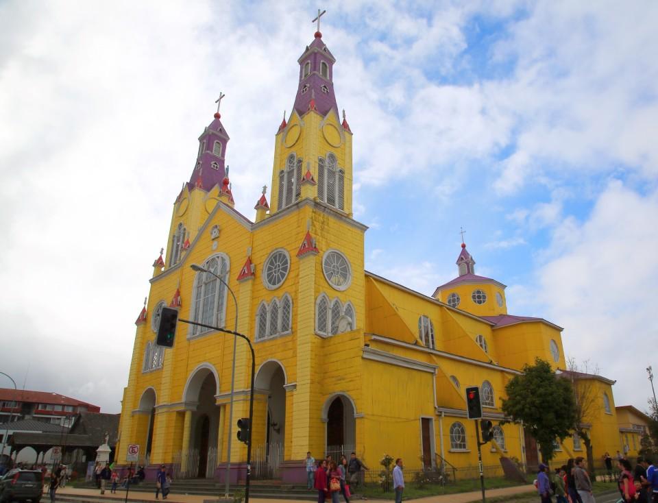 Iglesia San Francisco de Castro. A beautiful yellow and purple church right in the center of the city.
