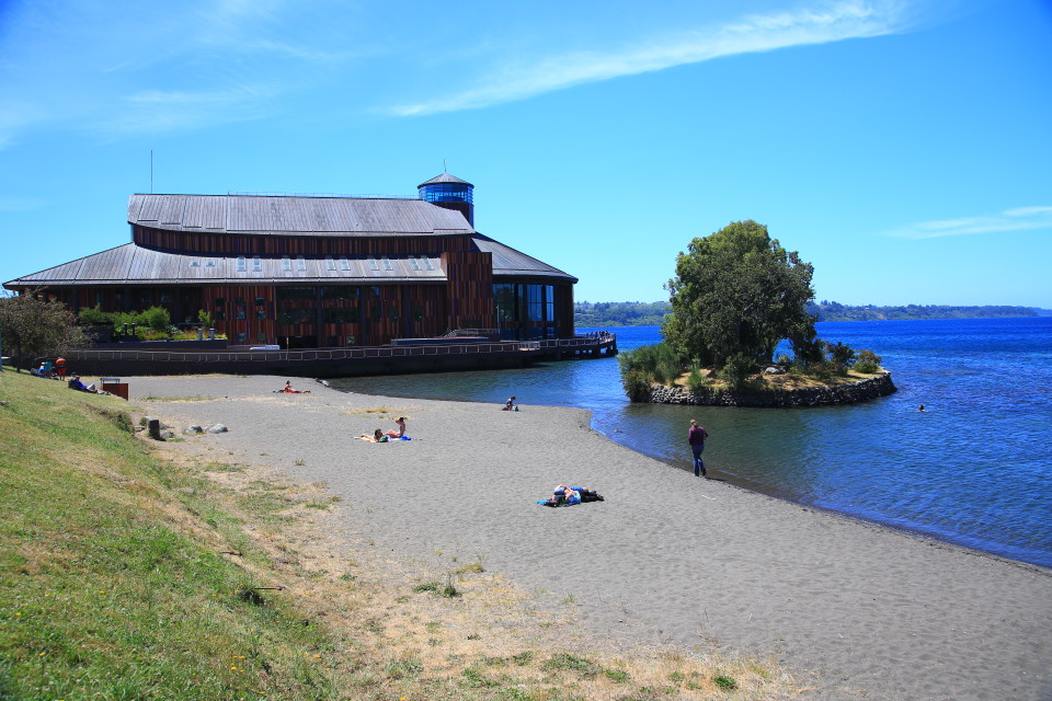 This is the stunning concert hall on the lake. Notice again me dressed in winter clothes as people are laying out...