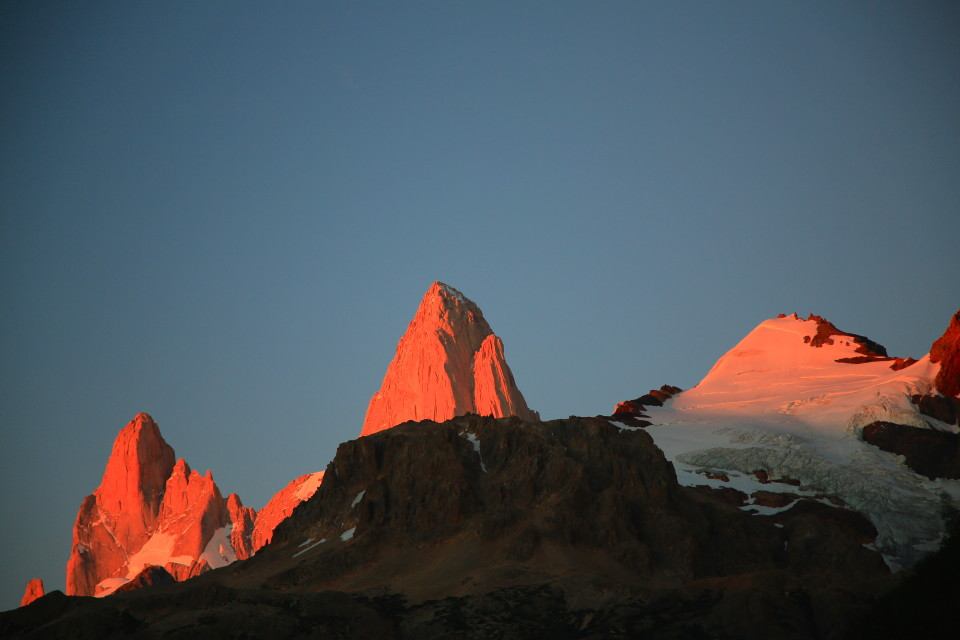 As the sun comes up it turns the granite red. It was so beautiful!