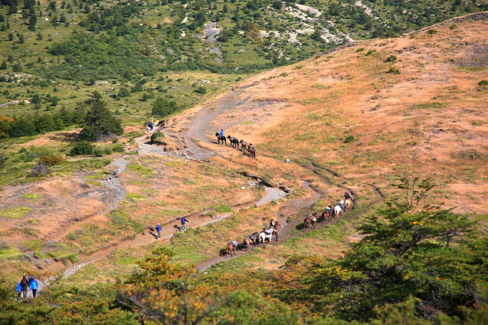 Looking down on hikers and horses on the trail to the most popular hike in the park.