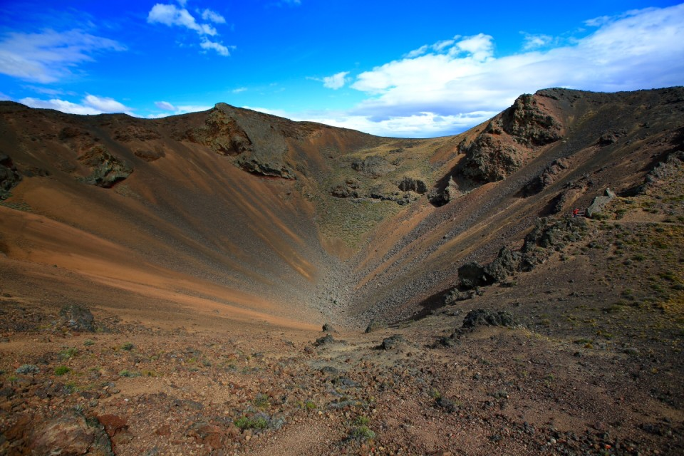 This is the biggest crater in the park,  I am the little red dot on the right. It is like Where's Waldo.