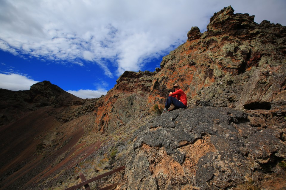 Eating lunch overlooking the smaller crater.