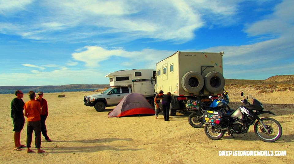 The bikers and the big rigs. Even with all the wind, we stayed and hung out for three more days.