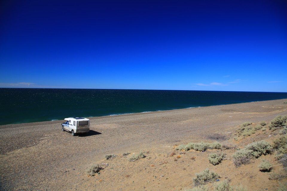 One of the places we set up camp on a huge stretch of beach. We would just look for dirt roads and follow them until we reached the water.